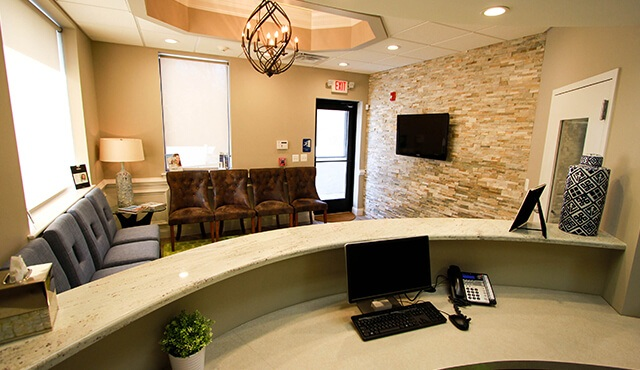 reception desk over-looking patient waiting area